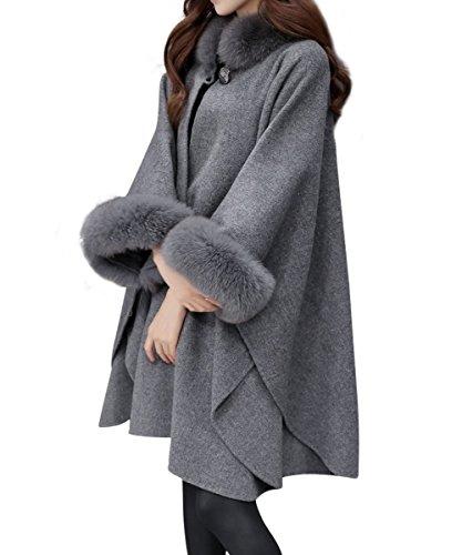 Landove poncho cappotto donna invernale vintage elegante giacca di pelliccia ecologica cape mantella collo alto cappotti manica mezza cardigan a manica pipistrello blazer outwear parka