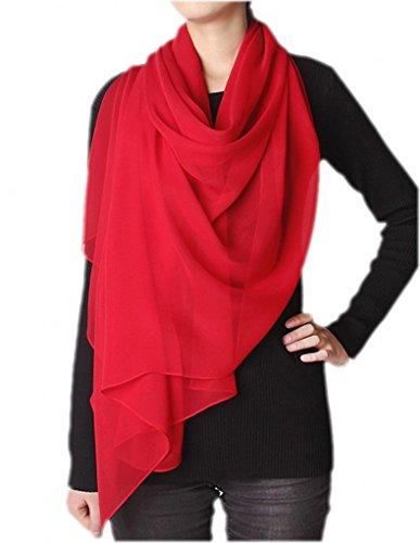 Prettystern - 200cm X60cm uni-Farbe einfarbig Party Office Lady reine Seidenschal Crepe Georgette - Flamme Rot