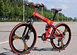 R CYCLES Carbon Steel 21 Shimano Gears Foldable Adventure Sports Mtb Cycle (Red)