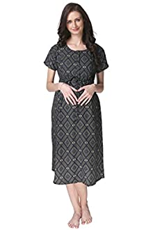 8019bf0860 Vixenwrap Multii Blue Printed A-Line Maternity Gown(XXL Multi Blue)