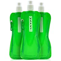 Juvale Plegable botella de agua – 6 unidades 16 oz plegable sin BPA botellas de Canteen