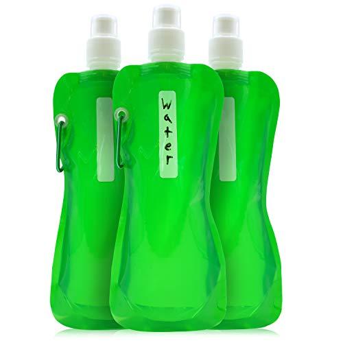 Juvale Faltbare Wasserflasche - 6er-Pack, 454 ml, faltbar, BPA-frei, Trinkflaschen mit Karabiner für Reisen, Grün