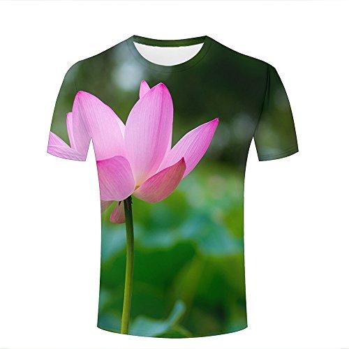 qianyishop Fashion Womens Mens 3D Printed Pretty Lotus Graphic Short Sleeve Tee Tops Couple T-Shirts XXXL