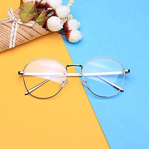 Shiduoli Art- und Weiserunder Brillen-Rahmen Unisex-stilvolle Nicht verschreibungspflichtige Brillen-Gläser klare Linse Eyewear (Color : Silver)