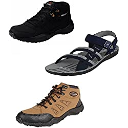 Chevit Men's Trio Pack of 3 Casual Running Shoes and (Sandals and Floaters)