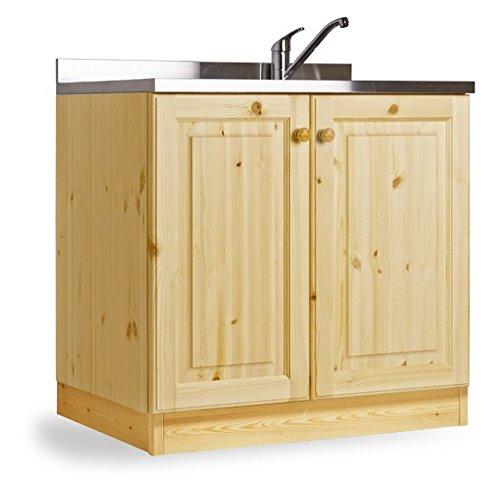 Arredamenti rustici base lavello appoggio da 80 con 2 vasche - mobile grezzo (no lucidato)