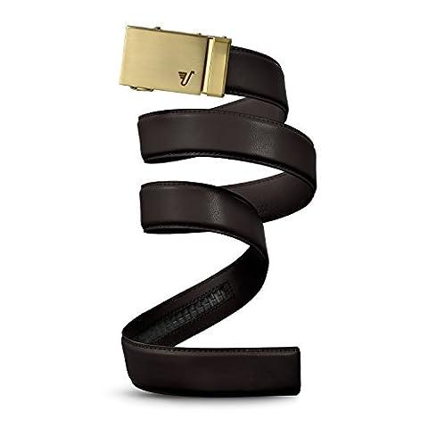 Mission Belt Men's Ratchet Belt - Gold 40 - Gold Buckle / Brown Leather, Medium (33 - 35)