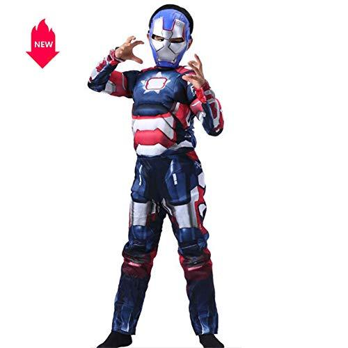 �me für Kinder Die Bühnenkostüme von Muscle Iron Man enthalten eine Kopfmaske, die in DREI Farben erhältlich ist,Blue,M ()