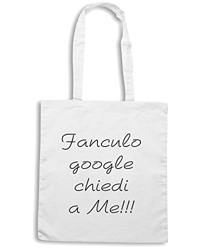 T-Shirtshock - Borsa Shopping TDM00073 fan culo google chiedi a me Bianco