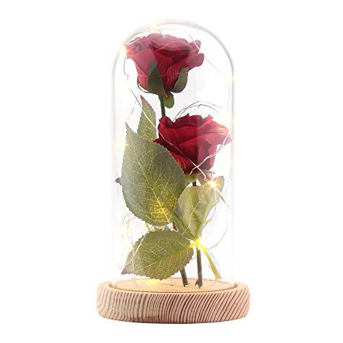 ALLOMN Rose Soie Artificielle Sparkle Rose avec Abat-Jour en Verre 20-LED Strip Light Blanc Chaud Grand Cadeau pour la Saint-Valentin Fête des Mères Noël Anniversaire (Rouge) (Rouge)