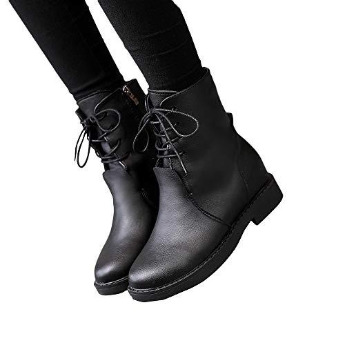 OSYARD Damen Flache Ankle Booties Stiefeletten Schnürstiefelett,Biker Boots Klassische Frauen Mode Schuhe Lace-Up Leder Boots Stiefel Motorradstiefel(230/37, Schwarz) -