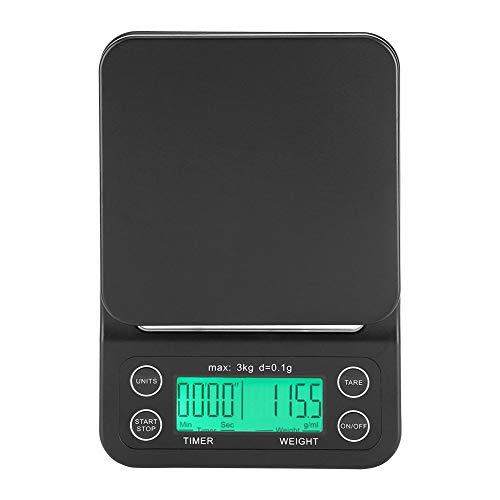 Fdit 3kg / 0,1g elektronische LCD Digital Küche Essen Skala Drip Kaffee wiegen mit Timer(Grun) -