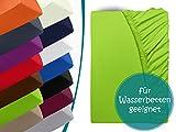 Premium Wasserbett-Spannbetttuch - aus sanforisiertem Baumwoll-Jersey mit 5% Lycra-Anteil - Komfortgröße 180 x 200 cm bis 200 x 220 cm - in 14 attraktiven Farben - auch für Boxspringbetten, limette