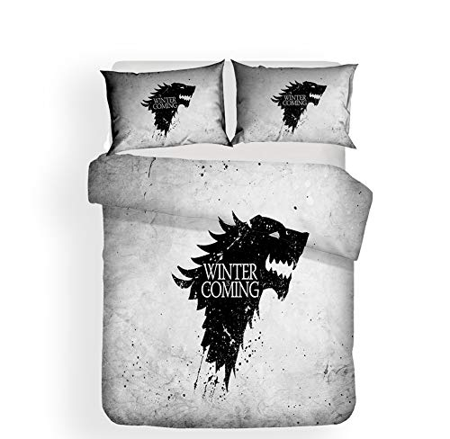 3D Drucken Bettbezug-Set mit Zwei Kissenbezügen, 3 Stück Game of Thrones Bettwäsche Set Einzel- / Doppelgröße für Kids & Teens (Kein Tröster),A,Twin (Twin Schlafzimmer Kids Set)