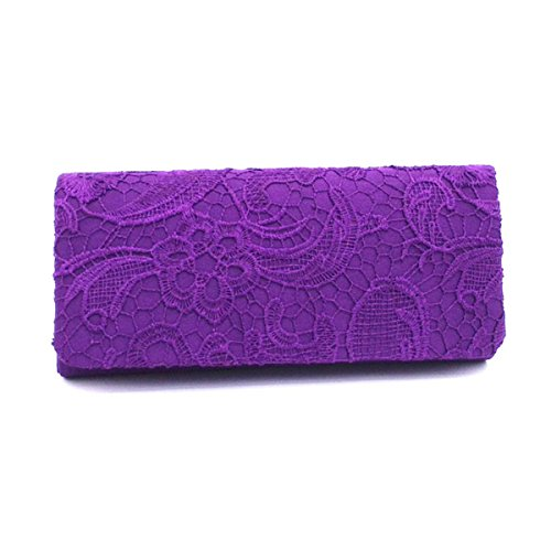 Frauen Clutch Bag Spitze Printed Schultertasche Lady Elegante Spitze Blume Abend Handtasche Hochzeit Tasche Geldbörse Purple