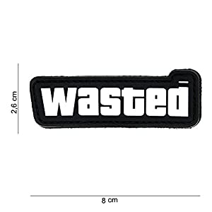 Patch 3D PVC Wasted Blanc / Cosplay GTA V / Airsoft / Camouflage …
