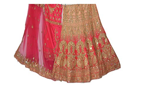BB Fashion Bridal Women Lehenga Choli (PEACH AND PINK CONTRAST FREE_SIZE)