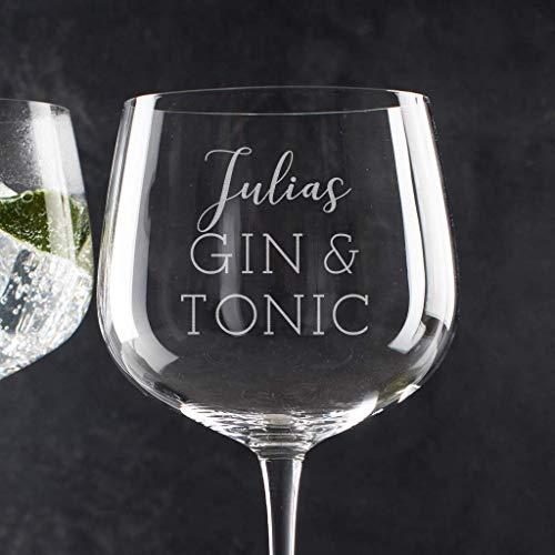 Gin Tonic Glas mit Gravur - Valentinstag Geschenk für sie - Geburtstag Geschenk für beste Freundin - Alkohol Geschenke Frauen