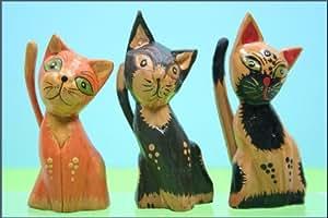 10 kunstvolle KATZEN HOLZ Handarbeit Katze Figur Deko
