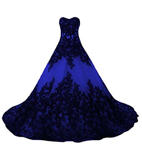 O.D.W Lange Spitze Vintage Brautkleider Frauen Gotisch Hochzeitskleider(Schwarz+Königsblau, 32)