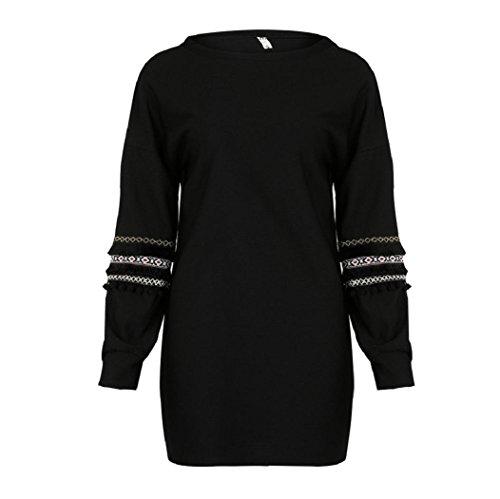 Minikleid, DBHAWKinEU Womens Kleid Quaste Ethnische Retro Style Polyester Kleid Damen Langarm Kleid (Schwarz, S)