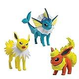 3er Set Pokemon - Sortiment T18524 Pokemonfiguren Blitza, Aquana und Flamara Sammelfiguren Sortiment