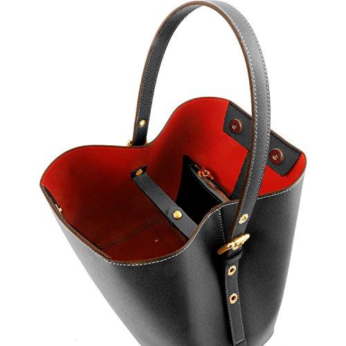 Tuscany Leather Arianna Borsa secchiello da donna in pelle Saffiano con pochette interna Nero Nero