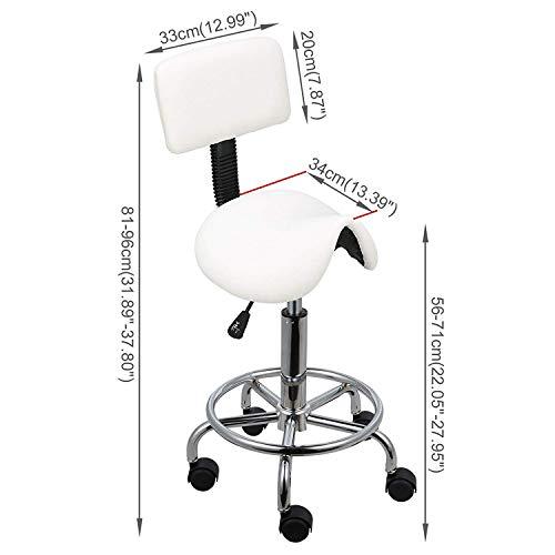 CWJ Praktischer Stuhl-Sattel-Salon-Massagestuhl mit Rückenlehne Verstellbarer Schwenker Ergonomischer Hocker für Friseurmaniküre - Sattel-hocker Rückenlehne Mit
