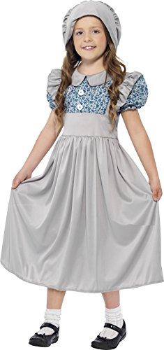 Smiffys Kinder Viktorianisches Schulmädchen Kostüm, Kleid und Hut, Größe: M, (Kostüm Viktorianischen Kleid Tag)