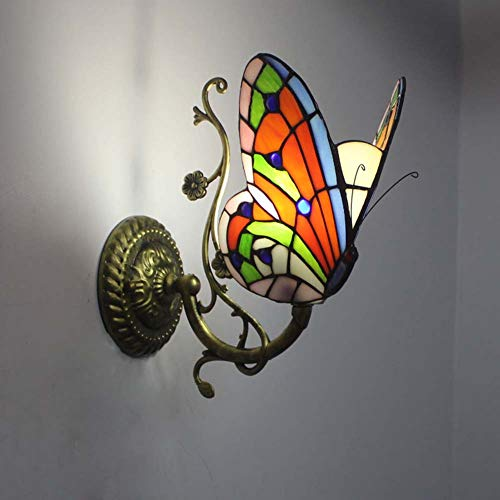 Lámpara De Pared Estilo Tiffany, Lámpara De Pared De Mariposa Hecha A Mano Retro Vidriera Pastoral...