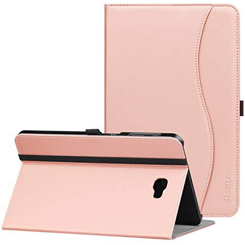 Ztotop Hülle für Samsung Galaxy Tab A 10,1,Modell SM-T580/SM-T585 (Keine S Pen-Version), Premium Leder Geschäftshülle mit Ständer,Kartensteckplatz,Auto Schlaf/Aufwach Funktion,Mehrfachwinkel,Rosé