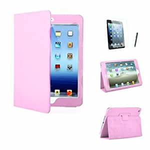 MOFRED® Executive Leather Multi Function Standby Case for Apple iPad Mini / Apple iPad Mini with Retina Display (iPad Mini 2) with Built in Magnet for Sleep / Wake Feature + Screen Protector + Stylus Pen (Available in Multiple Colors) (Light Pink)