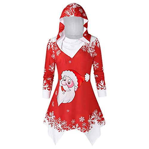 XINAINI Damen Pullover Weihnachten - Sweatjacke Hoodie Kapuzenjacke Langarmshirt - 3D Santa Claus und Schnee Druck Sweatshirt Kapuzenpullover Sweatshirt Unregelmäßiger Tops(XL,rot)
