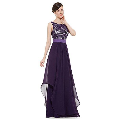 WintCO Damen Elegantes Langes Abendkleid Rueckenfreie Maxikleid Bodenlang Partykleid Cocktailkleid (L, violett)