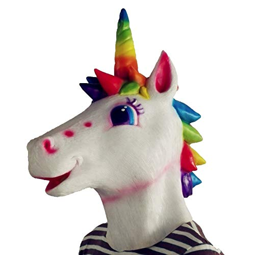 nbow Unicorn Horse Mask Halloween Creepy Horse Head Full Face Mask Latex Party Deluxe Novelty Party Cosplay Prop,Mix ()
