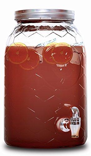 Dispensador de bebidas de estilo vintage de Rammento, con soporte y pizarra, vidrio, 6.5 Litre