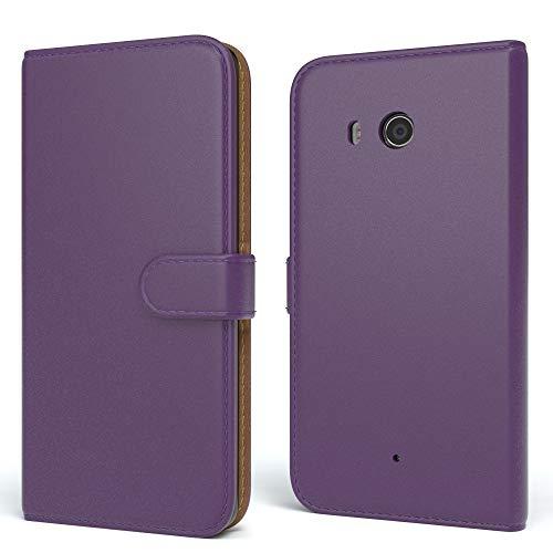 EAZY CASE HTC One (M8) / (M8s) Hülle Bookstyle mit Standfunktion, Book-Style Case aufklappbar, Schutzhülle, Flipcase, Flipstyle, Flipcover mit 2 Kartenfächern aus Kunstleder, Lila