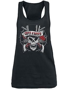 Guns N Roses Top Hat Skull Top Mujer Negro
