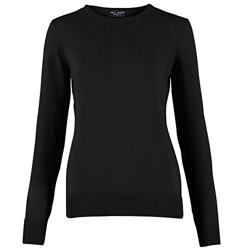 26eb3233bd89 Paul James Knitwear Women's 100% Cotton Crew Neck Jumper Black