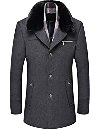80b58af3f2 AOOOA Herren Herren Winter Warmjacke Business Wolle Mantel Wollmantel Slim  Fit Pelzkragen Erbse Trenchcoat Männer