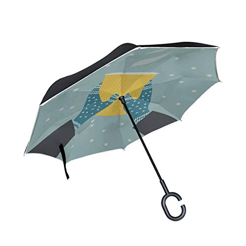 Handschuh Warm Komfortable Doppelschicht Falten Anti Uv Schutz Winddicht Regen Gerade Autos Golf Umgekehrte Schirmständer Mit C förmigen Griff (Tragetaschen Winter-boots Für Frauen)