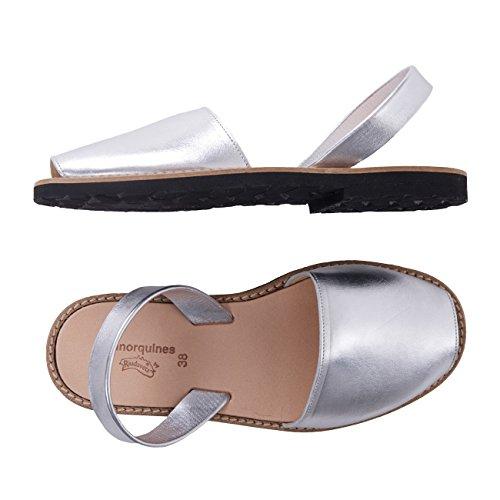 minorquines–Sandalen Avarca Metall silber–Damen Silber - silber