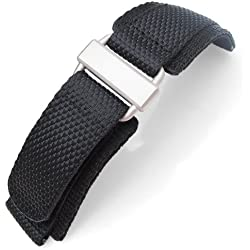 22mm MiLTAT Honeycomb Black Nylon Velcro Fastener Watch Strap Sandblasted Buckle