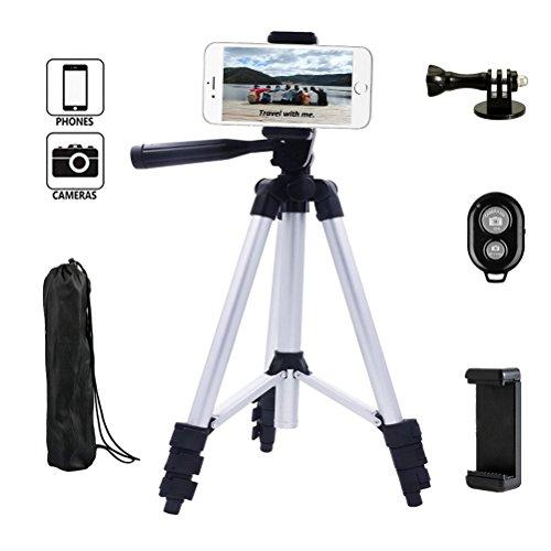 Dezuo 107cm Aluminium Dreibein Stativ Handy für Kamera, digitalen SLR Kamera, iPhone, Mobiltelefon, mit universellen Smartphone Halterung und Fernbedienung