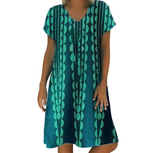 Longra-vestiti estivi donna taglie forti estate vestiti casual eleganti corti manica corta v-collo cotone e lino t-shirt lunga manica corta vestiti camicia donna mini abito gonne (s, 6# verde)