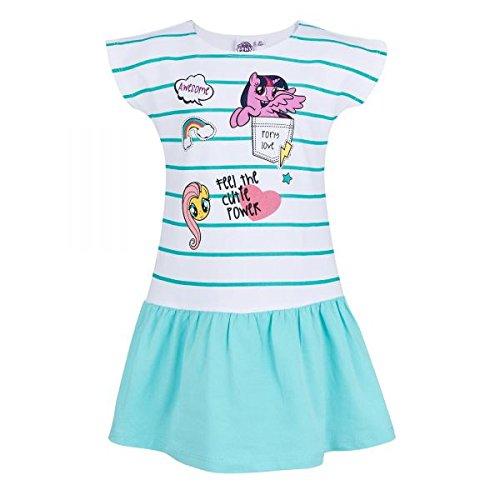 My Little Pony Kleid Mädchen Gr.92-128 Jerseykleid ärmellos neu!, Größe:104, Farbe:weiß/türkis
