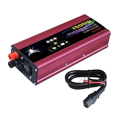 KKmoon Auto Wechselrichter 48 V / 60 V auf 220 V 1500W Led anzeige Fahrzeug Spannungswandler Sinus Led anzeige Stromrichter Intelligente Kühlung mit 2 USB Anschlüsse Zigarettenanzünder Stecker Rot