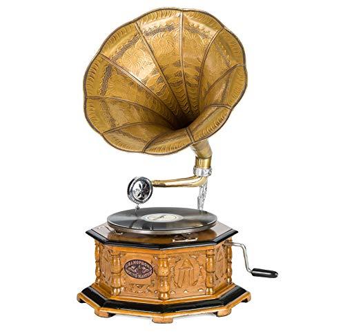 Grammofono a tromba con piatto in ceralacca stile classico