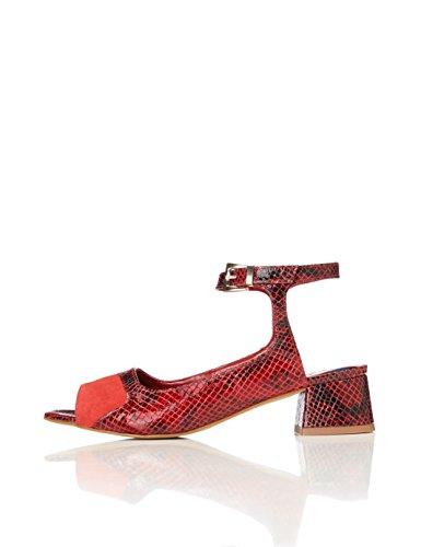 FIND Sandali con Tacco Donna, Multicolore (Red Print), 38 EU