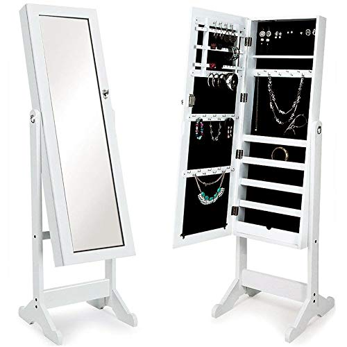 Bakaji specchiera portagioie modello ginevra armadietto portagioielli specchio con anta porta oggetti, armadio organizer porta gioielli (bianco)